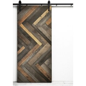 Charming Dogberry Collections Herringbone Stained Pine Barn Interior Door With  Hardware (Common: 36 In