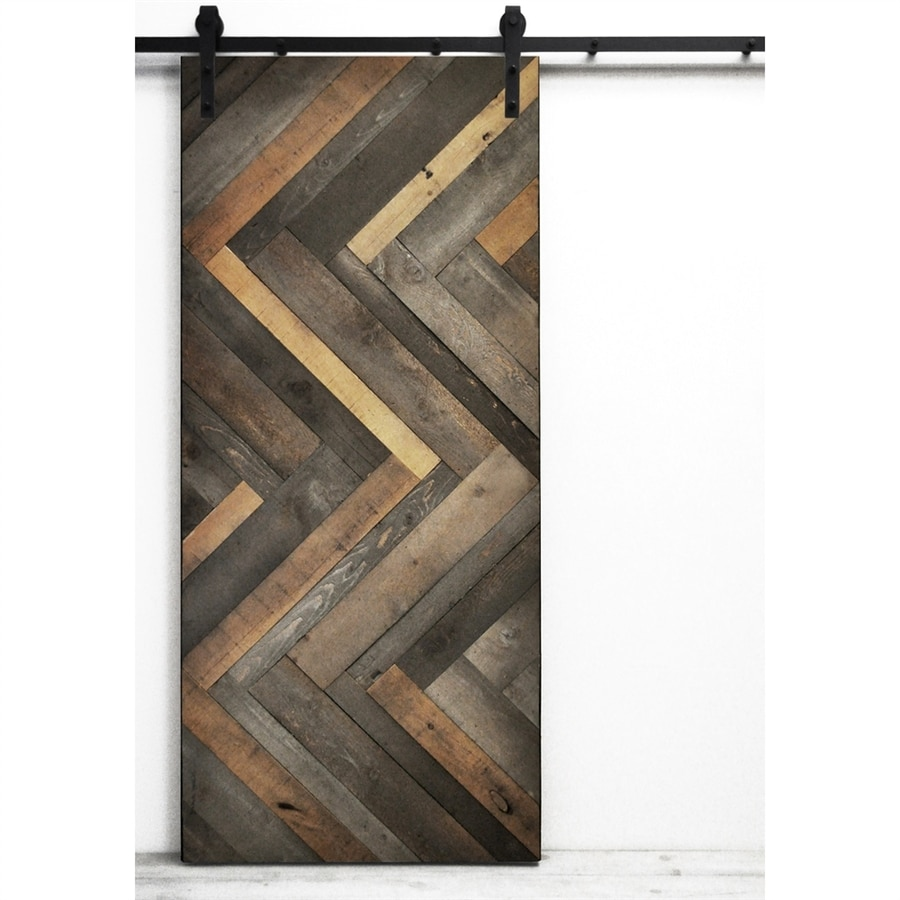 Dogberry Collections Herringbone Barn Wood Plank Solid Core Pine Barn Door  With Hardware (Common: