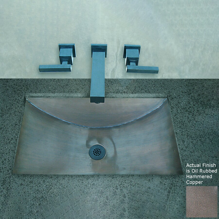 Terra-Acqua Santa Ynez Copper Oil-Rubbed Hammered Copper Undermount Rectangular Bathroom Sink