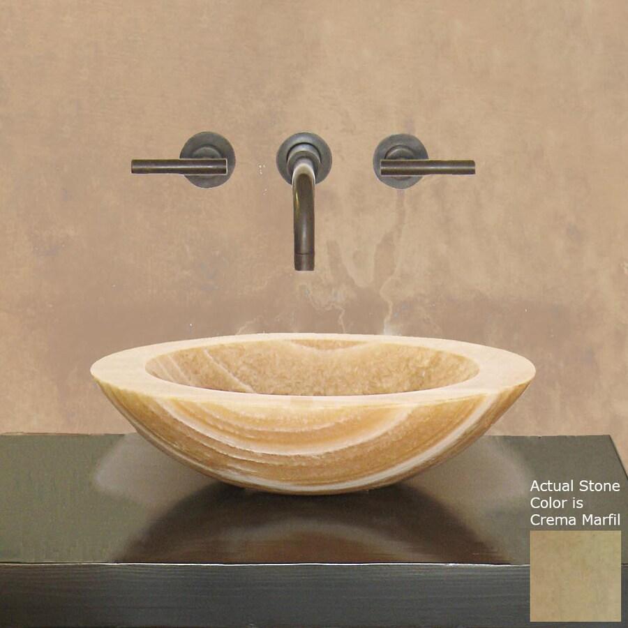 Terra-Acqua Montecito Stone Crema Marfil Stone Vessel Round Bathroom Sink