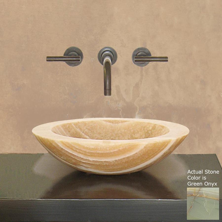 Terra-Acqua Montecito Stone Green Onyx Stone Vessel Round Bathroom Sink