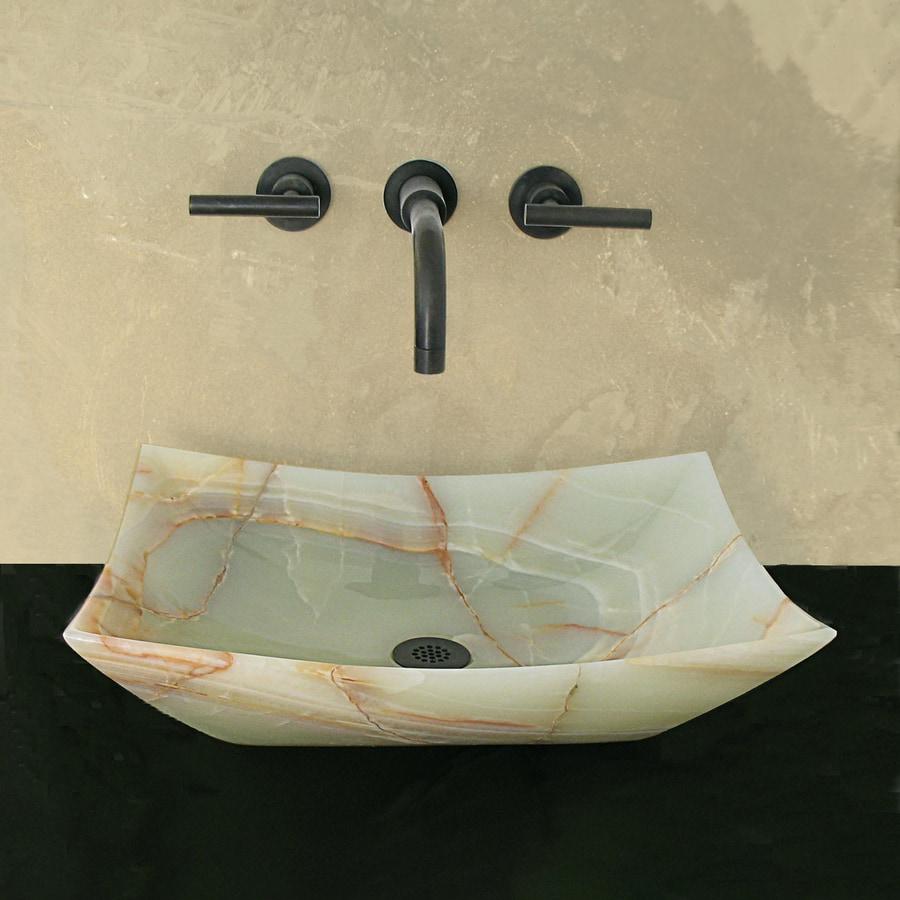 Terra-Acqua Montecito Stone Green Onyx Stone Vessel Rectangular Bathroom Sink