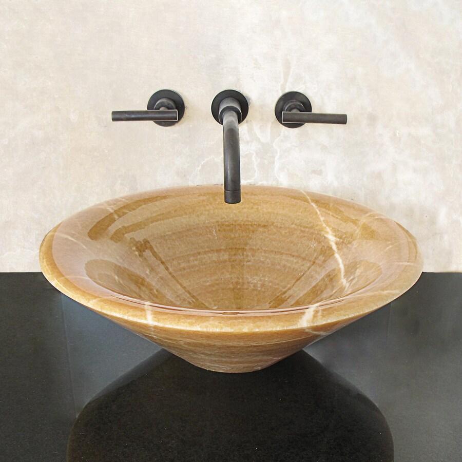 Terra-Acqua Montecito Stone Honey Onyx Stone Vessel Round Bathroom Sink