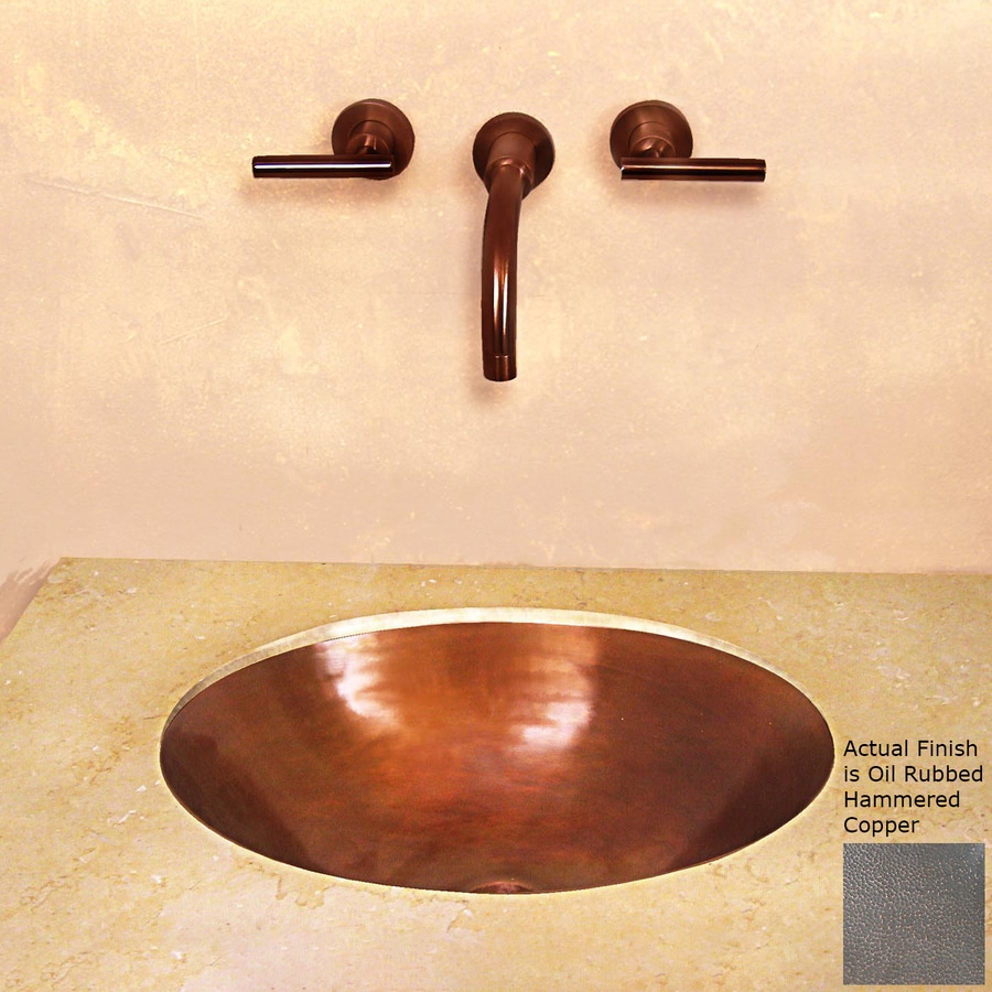 Terra-Acqua Santa Ynez Copper Oil-Rubbed Hammered Copper Undermount Oval Bathroom Sink