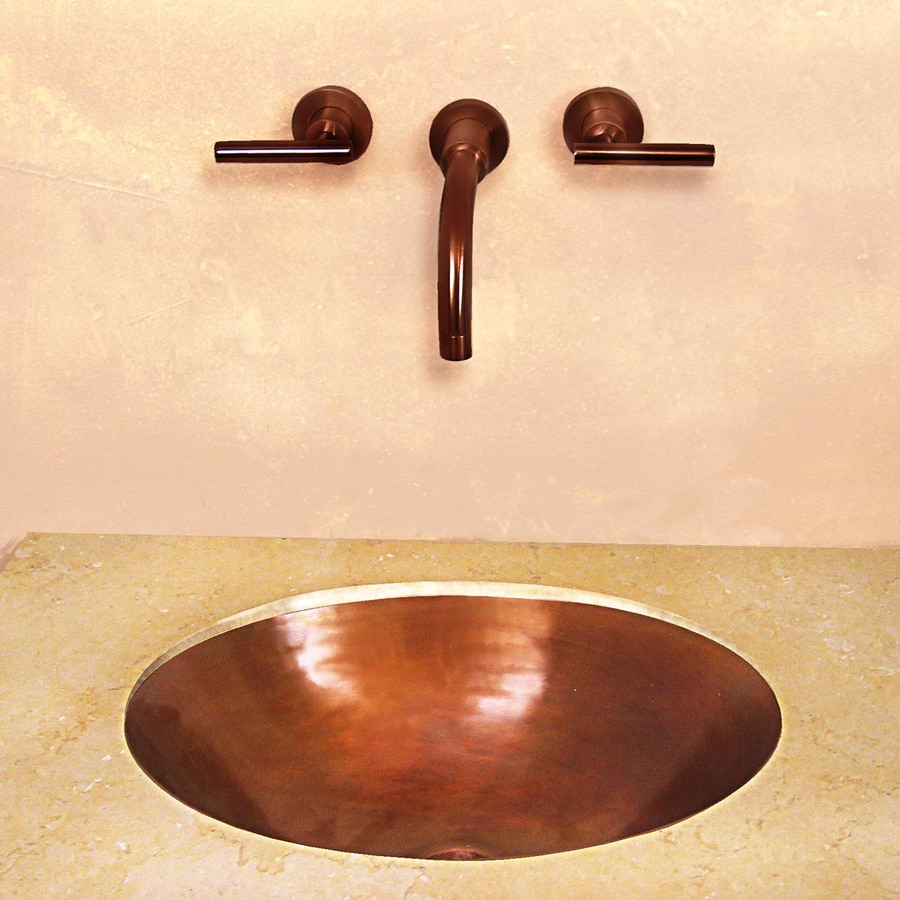Terra-Acqua Santa Ynez Copper Smooth Weathered Copper Undermount Oval Bathroom Sink