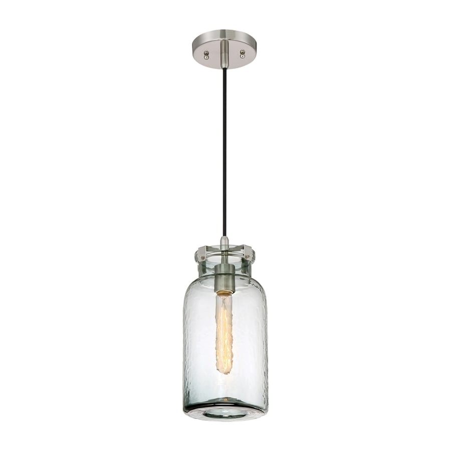 Quoizel Nob Hill 6.25-in Brushed Nickel Industrial Mini Textured Glass Jar Pendant