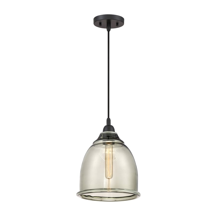 Quoizel Profile 10-in Mystic Black Industrial Single Clear Glass Dome Pendant