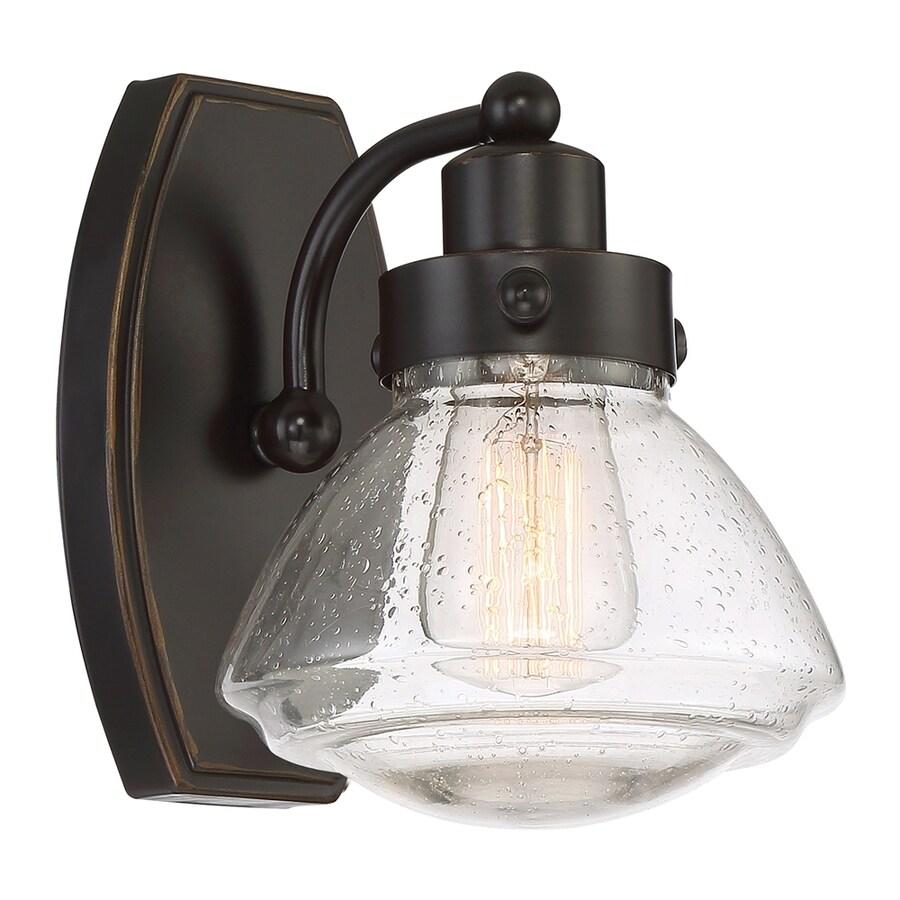 Quoizel Scholar 1-Light 8.75-in Palladian bronze Schoolhouse Vanity Light