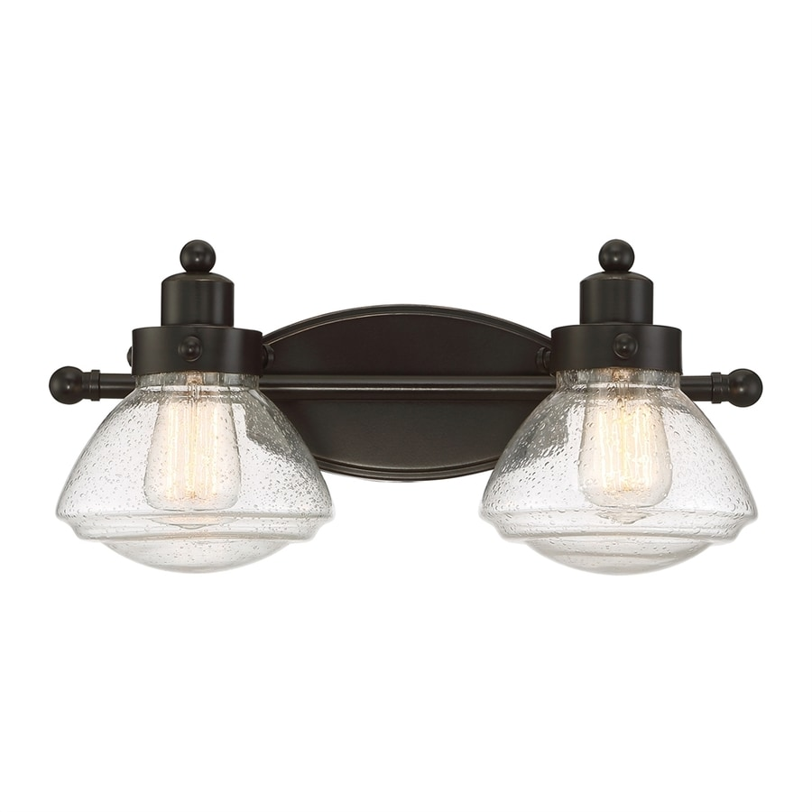 Quoizel Scholar 2-Light 8-in Palladian bronze Schoolhouse Vanity Light