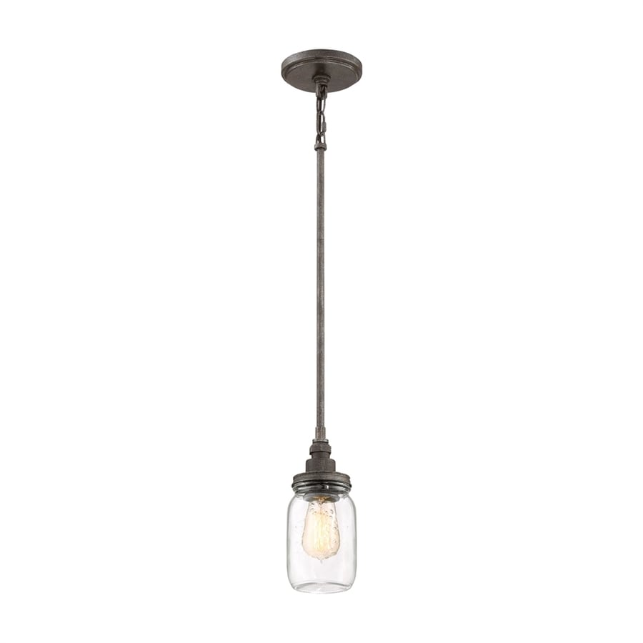 Quoizel Squire 4.25-in Rustic Black Industrial Mini Clear Glass Jar Pendant