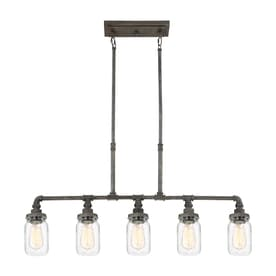 quoizel squire 38 in w 5 light rustic black vintage kitchen island light with - Black Kitchen Lights