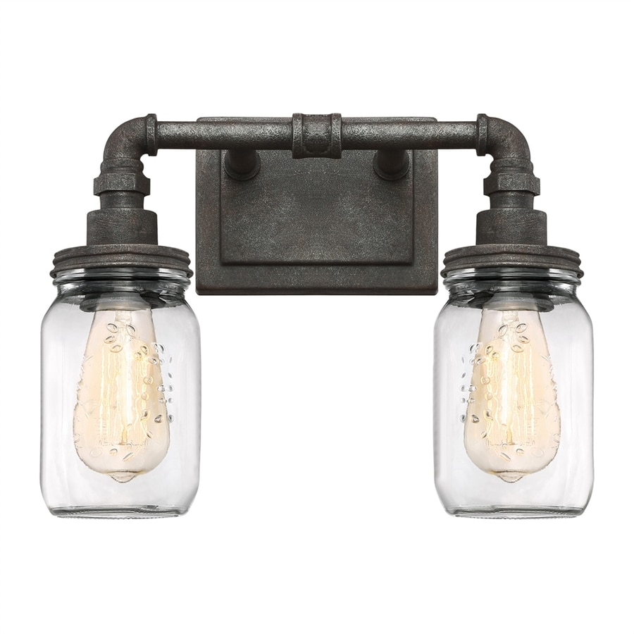 Quoizel Squire 2-Light 11-in Rustic Black Jar Vanity Light