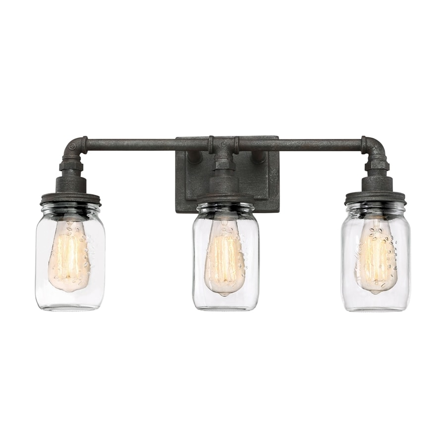 Quoizel squire 3 light 21 in rustic black jar vanity light at lowes com
