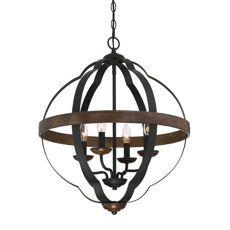 Quoizel Siren 21-in 4-Light Marcado Black Hardwired Globe Chandelier