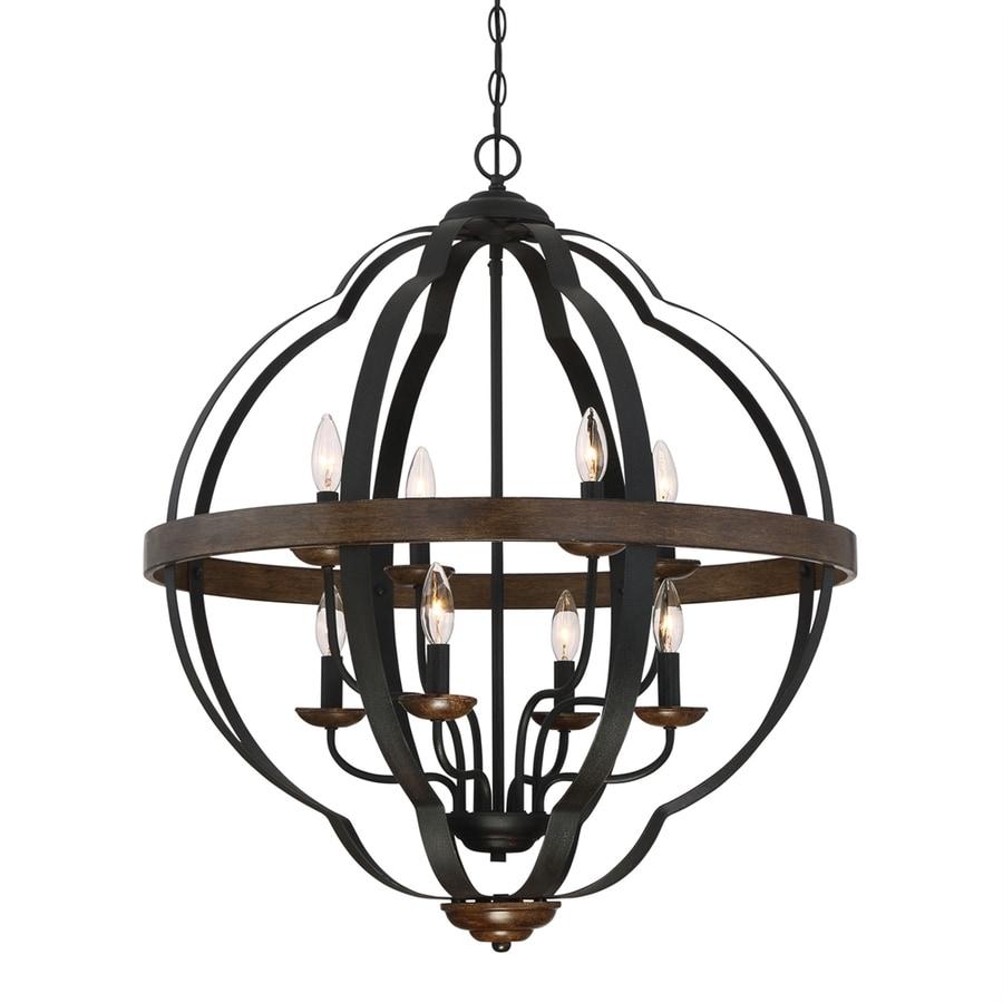 Quoizel Siren 28-in 8-Light Marcado Black Hardwired Globe Chandelier