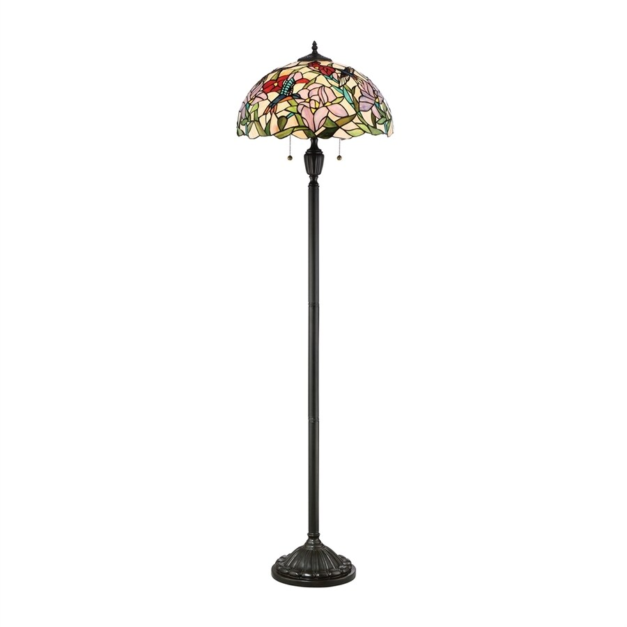 Quoizel Hummingbird 62 In Vintage Bronze Pull Chain Floor Lamp With Gl Shade