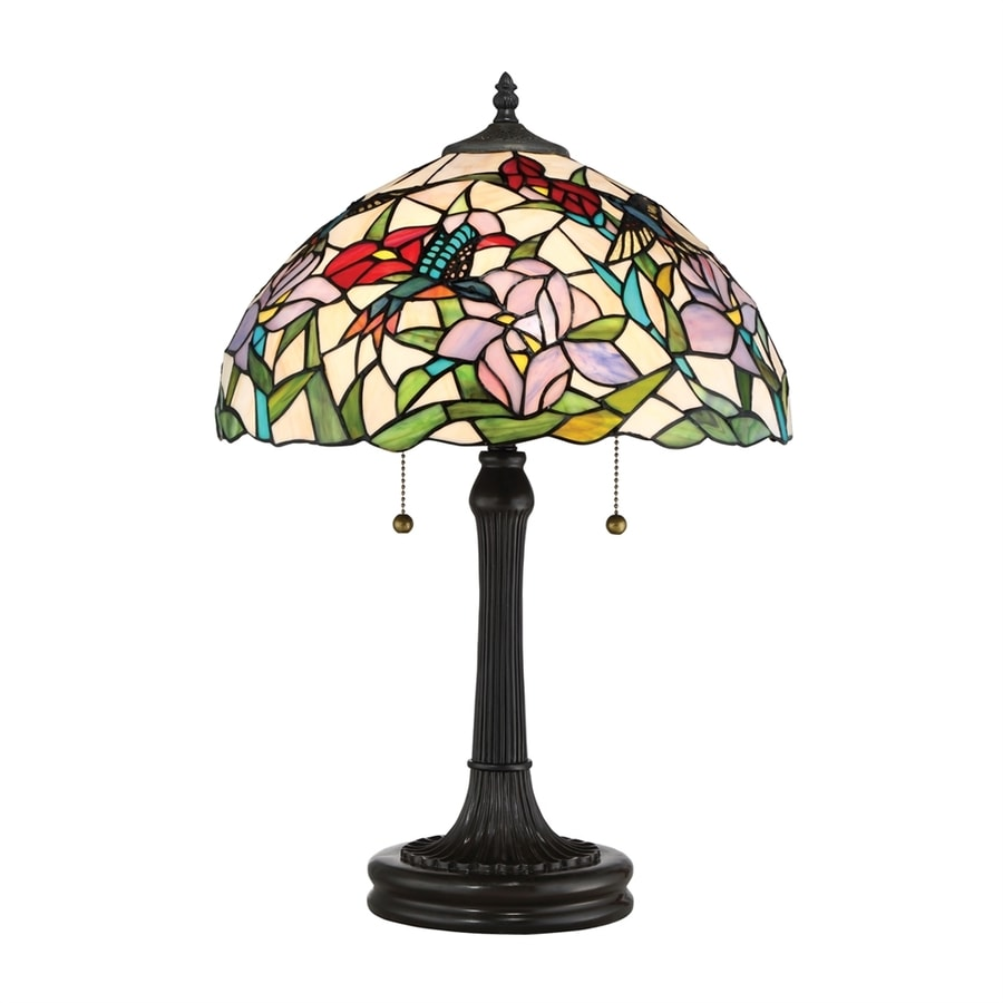 Quoizel Hummingbird 23-in Vintage Bronze Table Lamp with Glass Shade