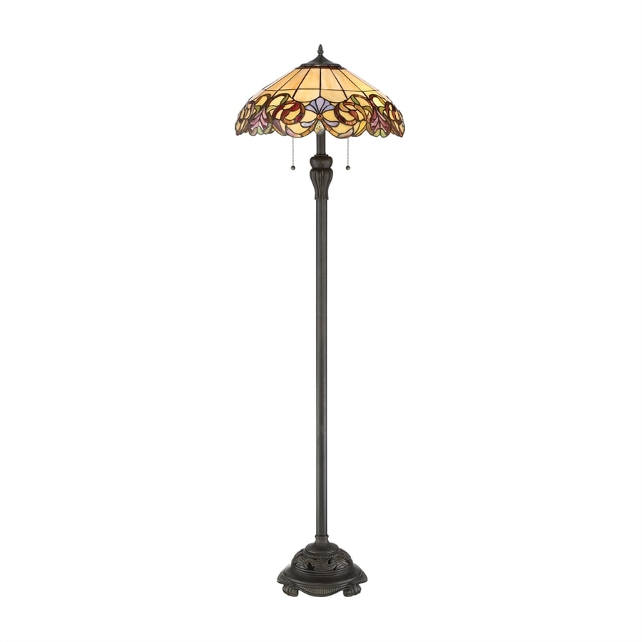 Quoizel Blossom 58.5-in Imperial Bronze Floor Lamp with Glass Shade