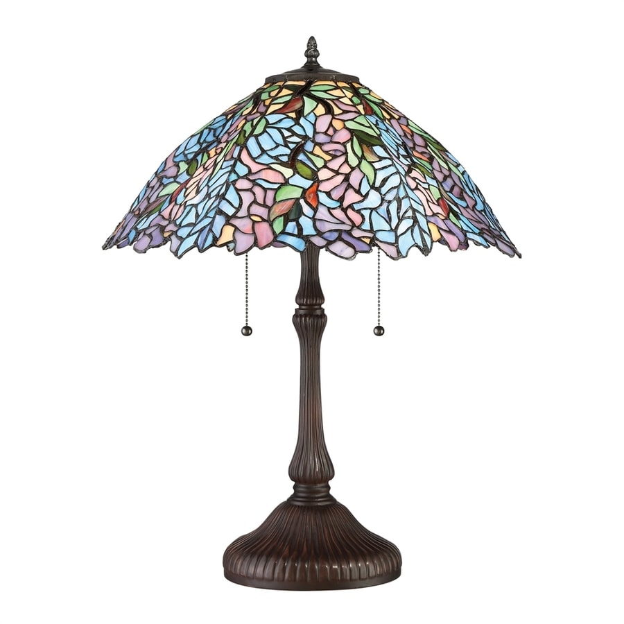 Quoizel Blue Trellis 24-in Russet Table Lamp with Glass Shade