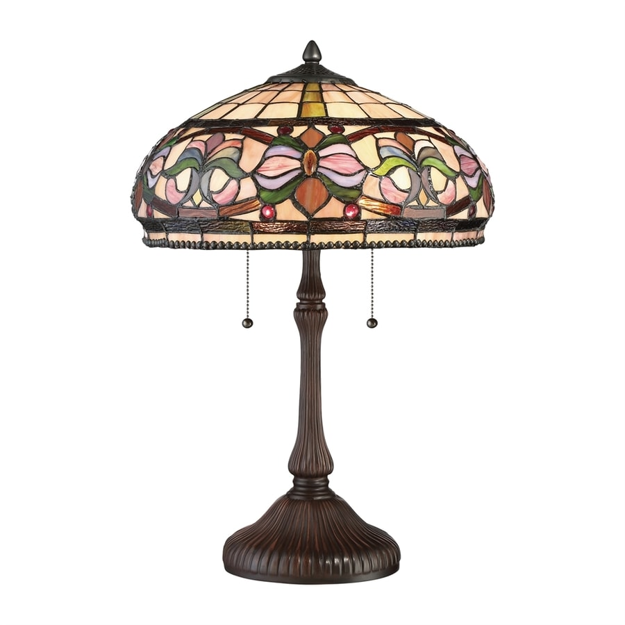 Quoizel Meadow 23.25-in Russet Table Lamp with Glass Shade
