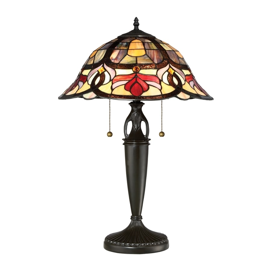 Quoizel Garland 23.5-in Vintage Bronze Table Lamp with Glass Shade