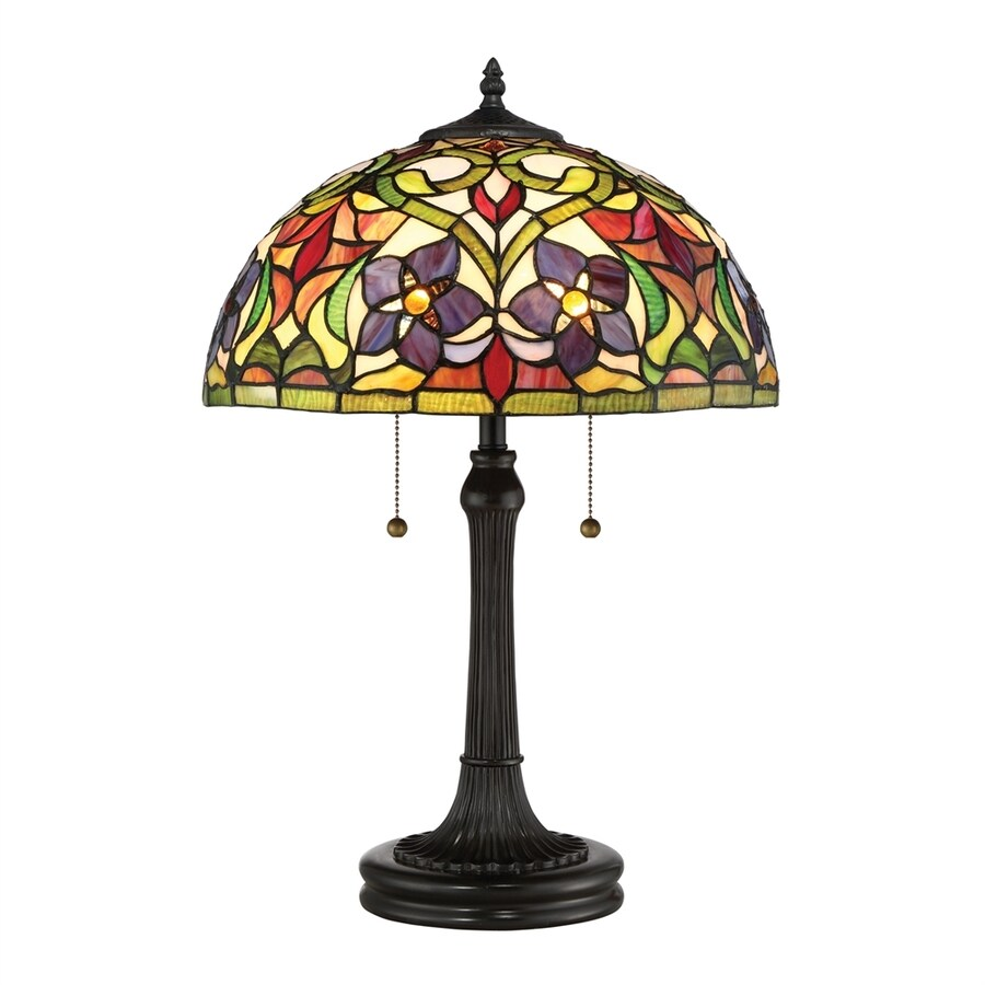 Quoizel Violets 23.5-in Vintage Bronze Table Lamp with Glass Shade