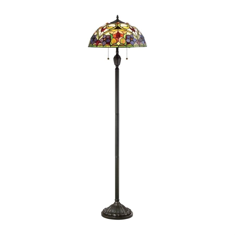 Quoizel Violets 62-in Vintage Bronze Pull-Chain Floor Lamp with Glass Shade