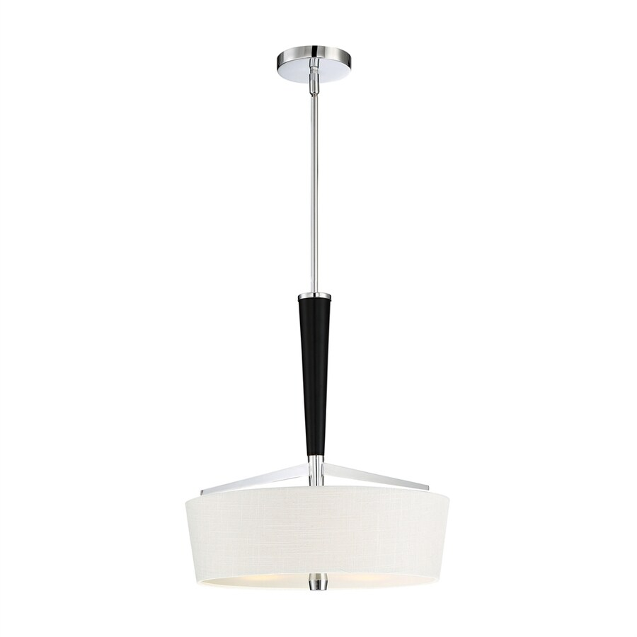 Quoizel 16-in Polished Chrome Single Etched Glass Drum Pendant