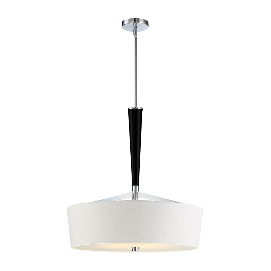 Quoizel 22.75-in Polished Chrome Single Etched Glass Drum Pendant