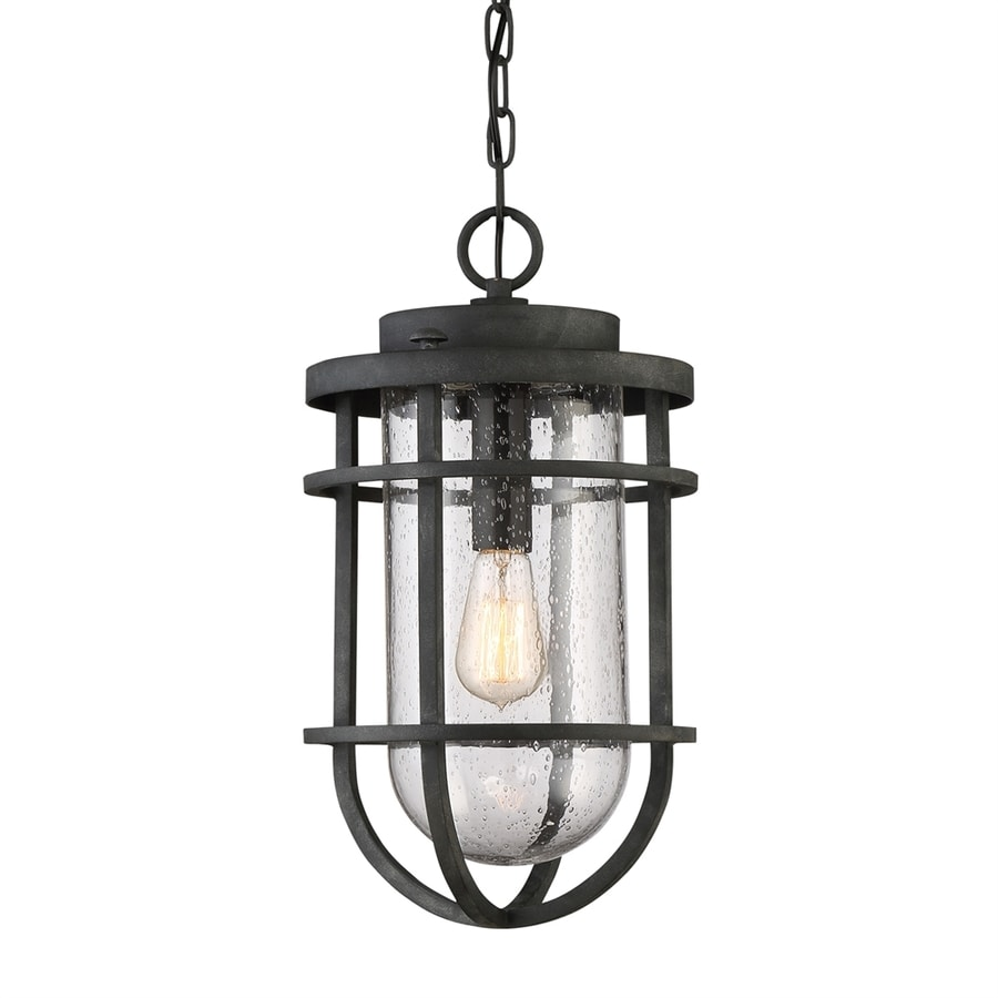 Quoizel Boardwalk 18.25-in Mottled Black Outdoor Pendant Light