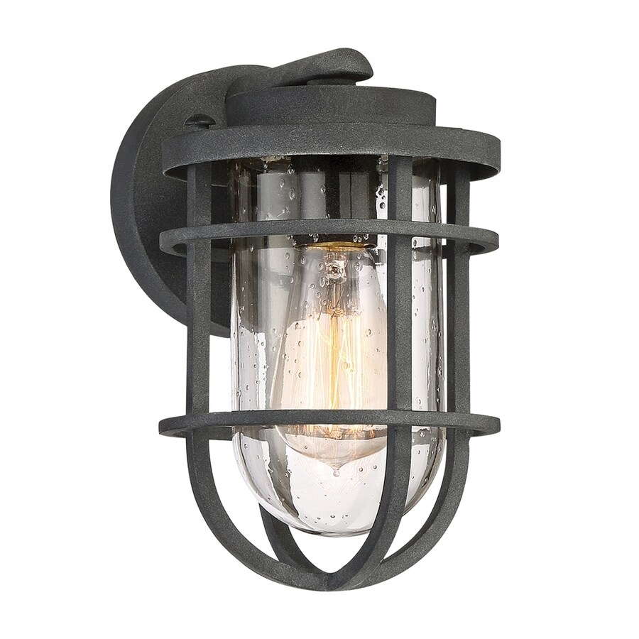 Quoizel Boardwalk 9.75-in H Mottled Black Medium Base (E26) Outdoor Wall Light