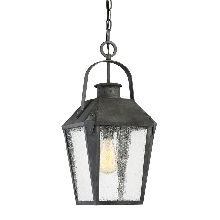 Quoizel Carriage 21.25-in Mottled Black Outdoor Pendant Light