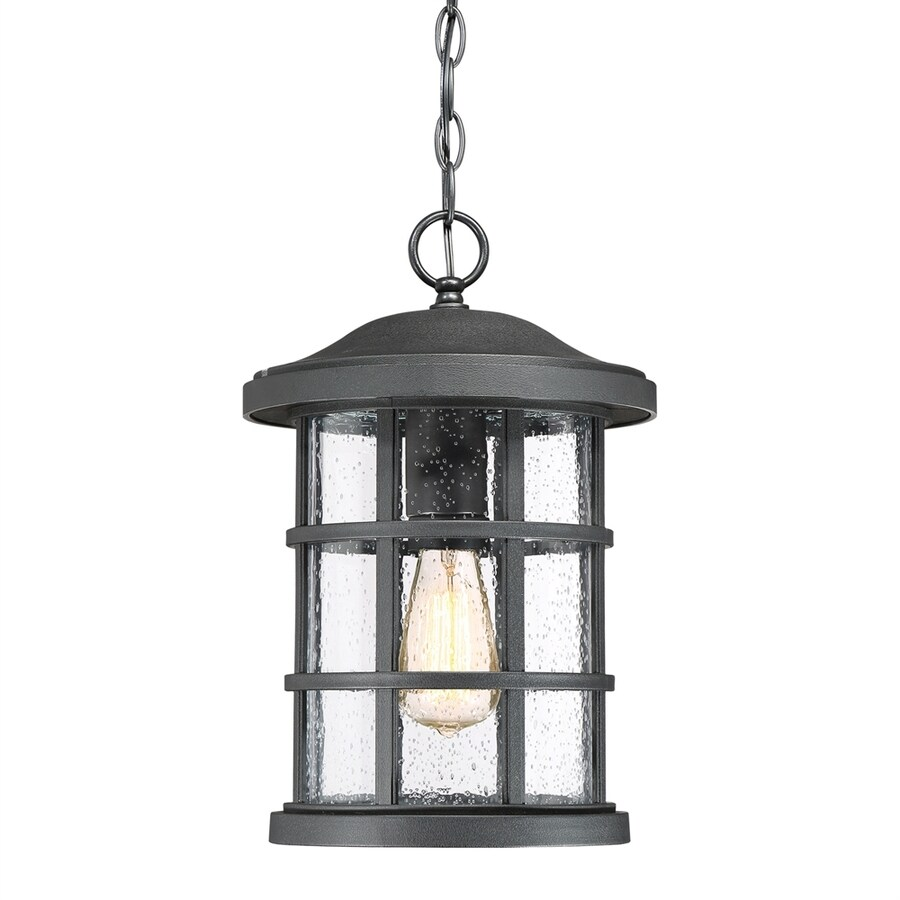 Quoizel Crusade 15.5-in Earth Black Outdoor Pendant Light