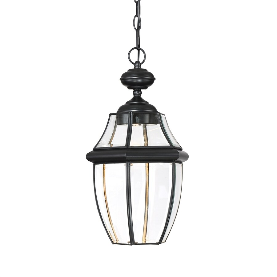 Quoizel Newbury Clear 19-in Mystic Black Outdoor Pendant Light