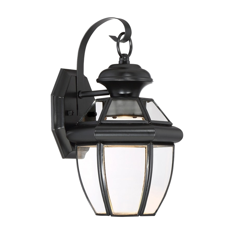 Quoizel Newbury Clear 12.5-in H Mystic Black LED Outdoor Wall Light