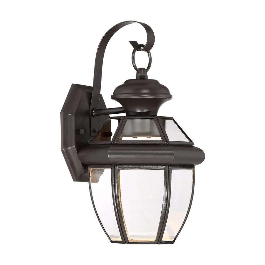 Quoizel Newbury Clear 12.5-in H Medici Bronze LED Outdoor Wall Light