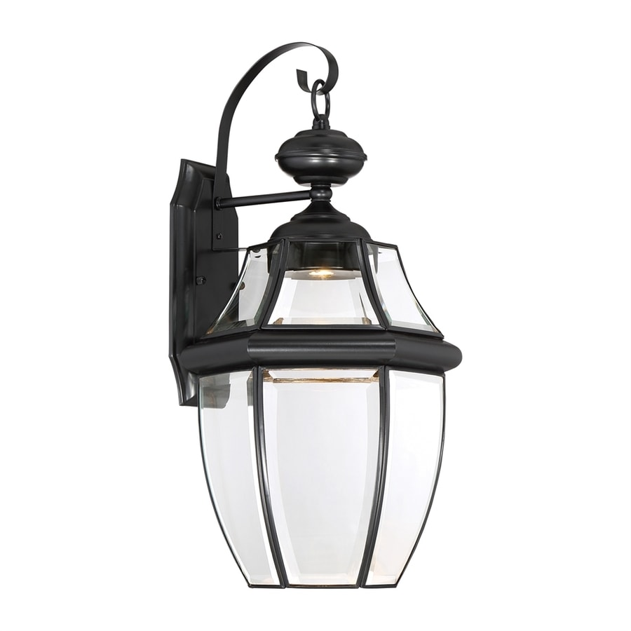 shop quoizel newbury clear 20 in h mystic black led outdoor wall