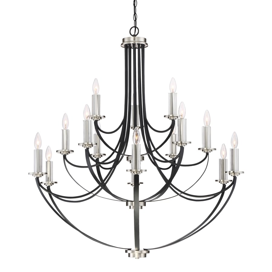 Quoizel Alana 41-in 15-Light Mystic Black Hardwired Candle Chandelier