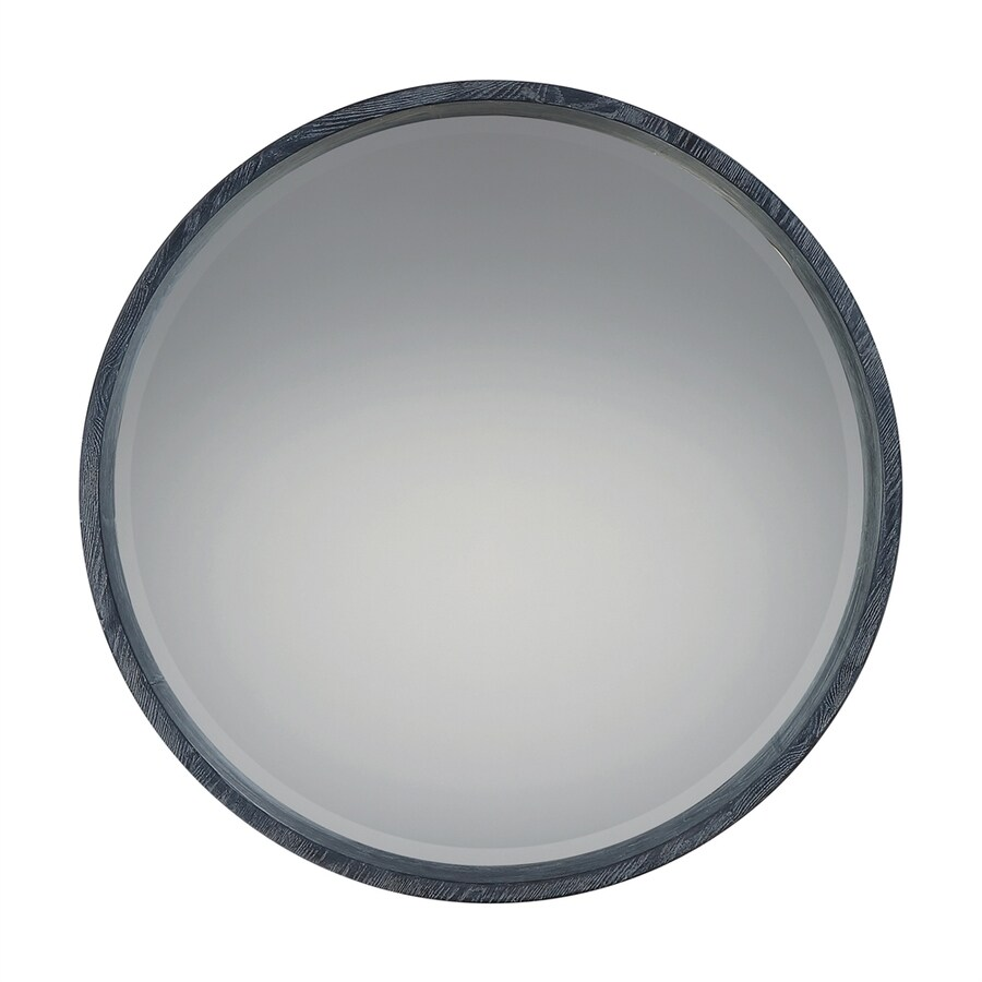 Shop quoizel shoreline black white beveled round wall for White round wall mirror