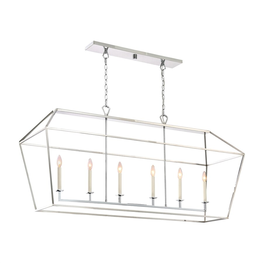 Quoizel Aviary 54-in W 6-Light Polished Nickel Kitchen Island Light with Shade