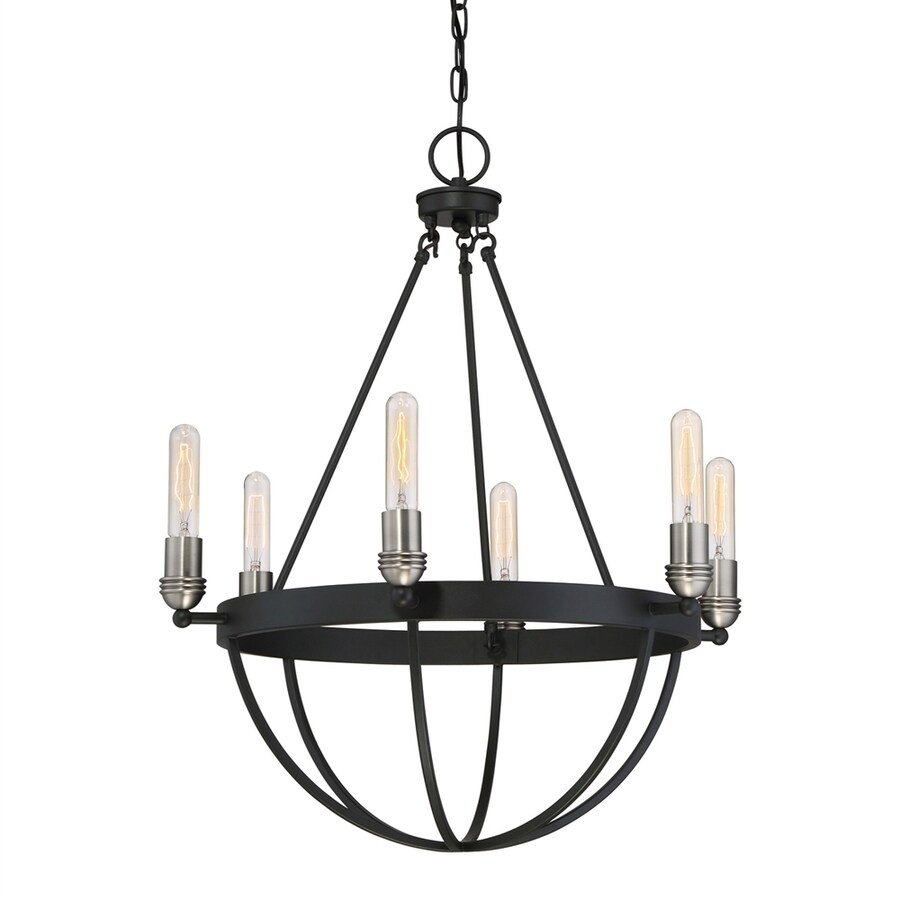 Quoizel Basin 25-in 6-Light Earth black Industrial Candle Chandelier