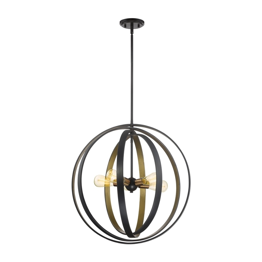 Quoizel Circuit 24-in Western Bronze Industrial Single Globe Pendant
