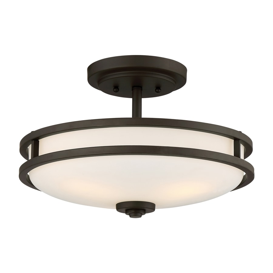 Quoizel Cadet 15-in W Old Bronze Etched Glass Semi-Flush Mount Light