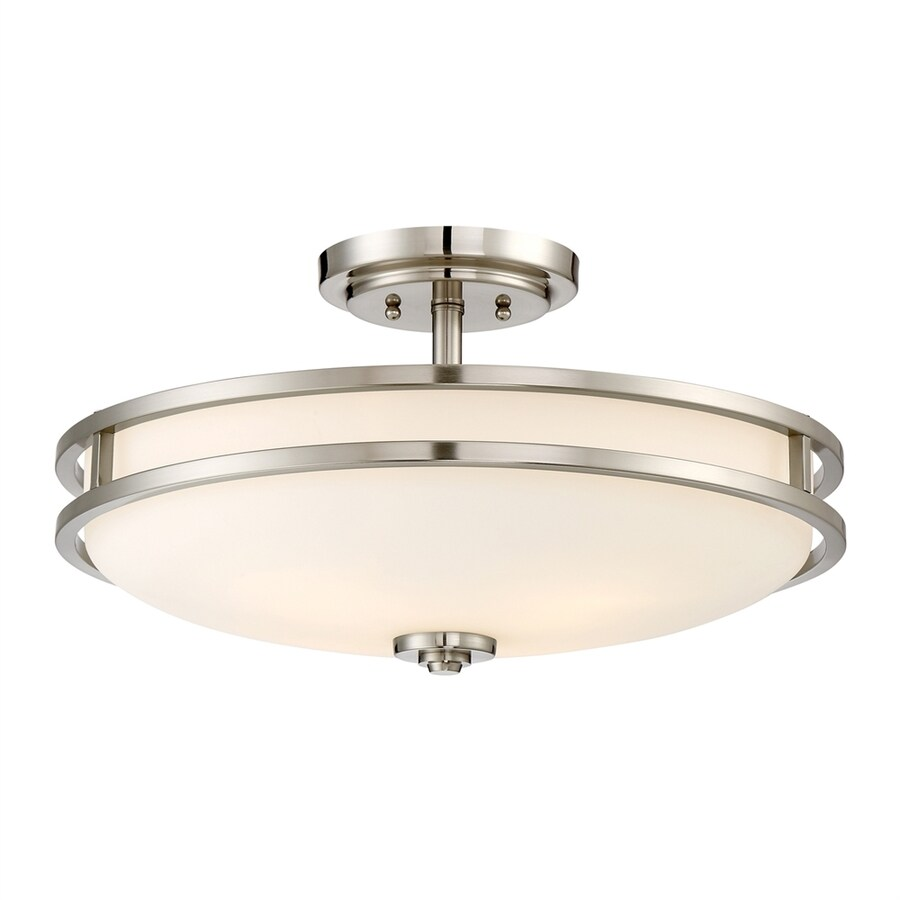 Quoizel Cadet 19.25-in W Brushed Nickel Etched Glass Semi-Flush Mount Light