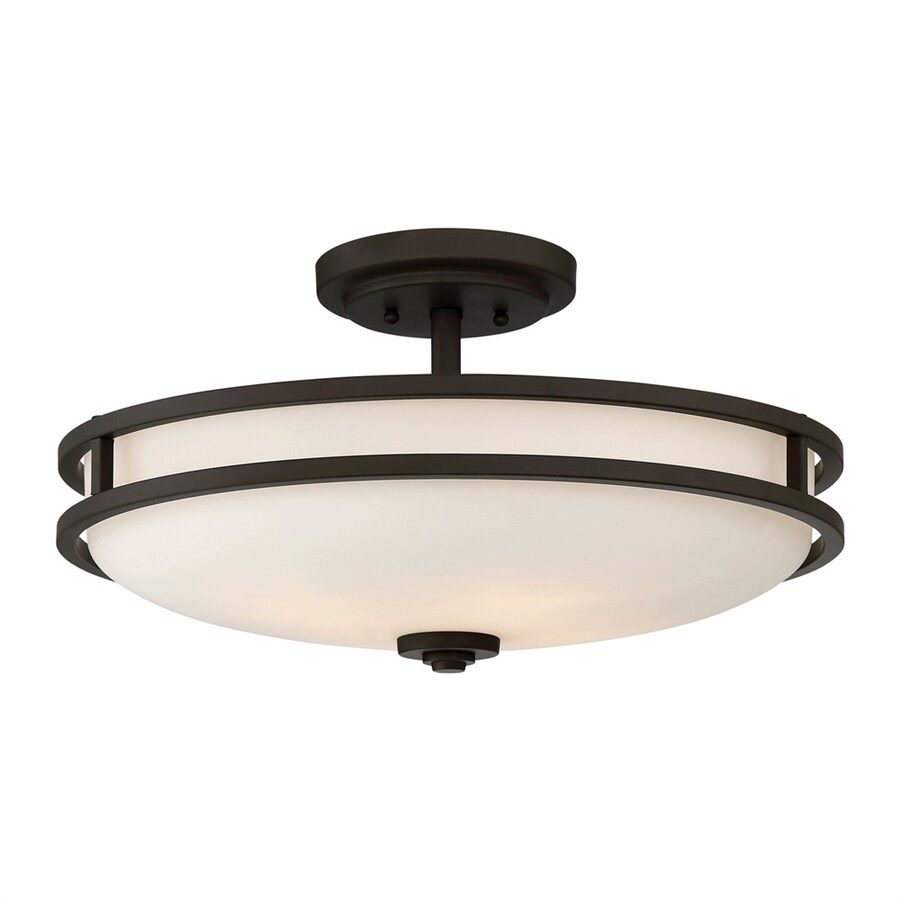 Quoizel Cadet 19.25-in W Old Bronze Etched Glass Semi-Flush Mount Light