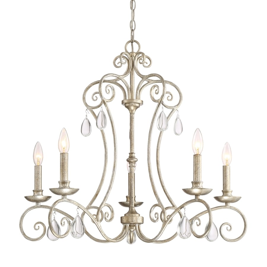 Quoizel Chantelle 28-in 5-Light Vintage Gold Vintage Hardwired Candle Chandelier