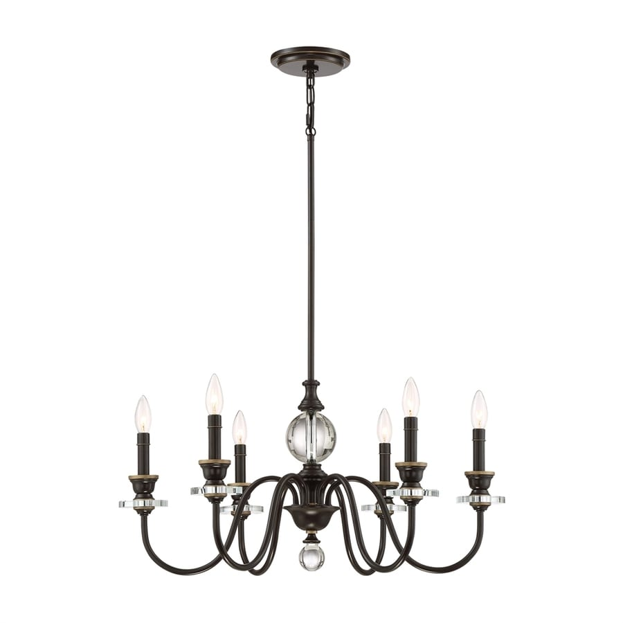 Quoizel Ceremony 28-in 6-Light Palladian Bronze Hardwired Candle Chandelier