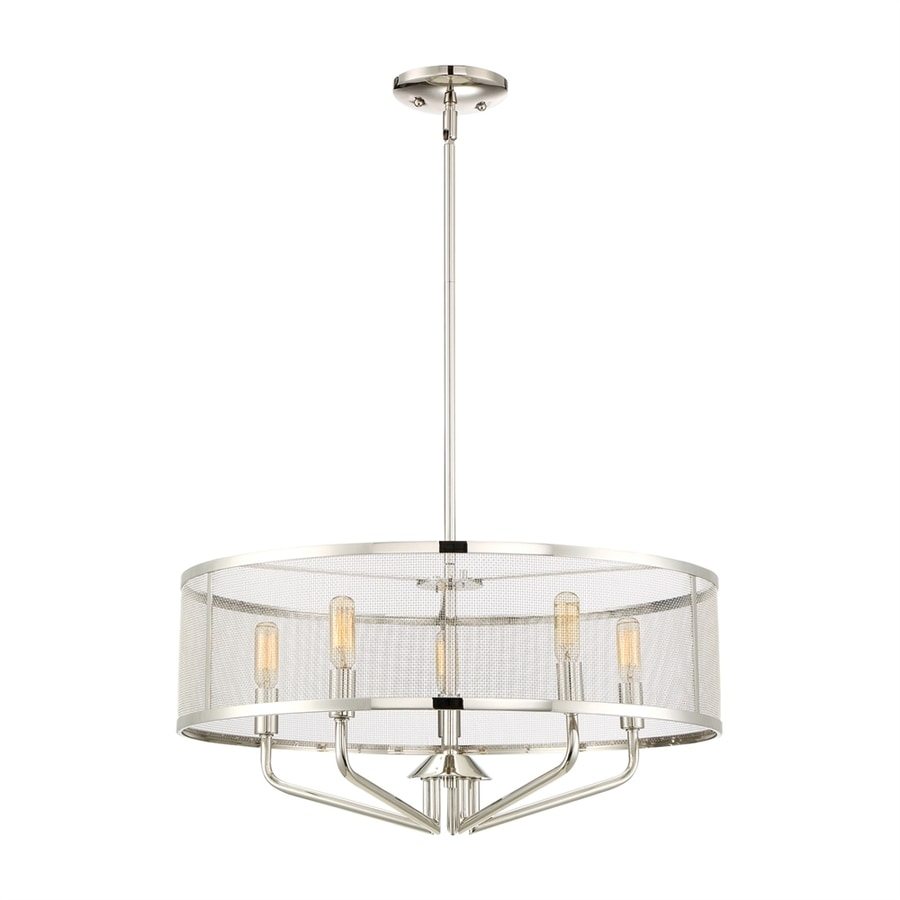Quoizel Cityscape 22-in Polished Nickel Single Drum Pendant