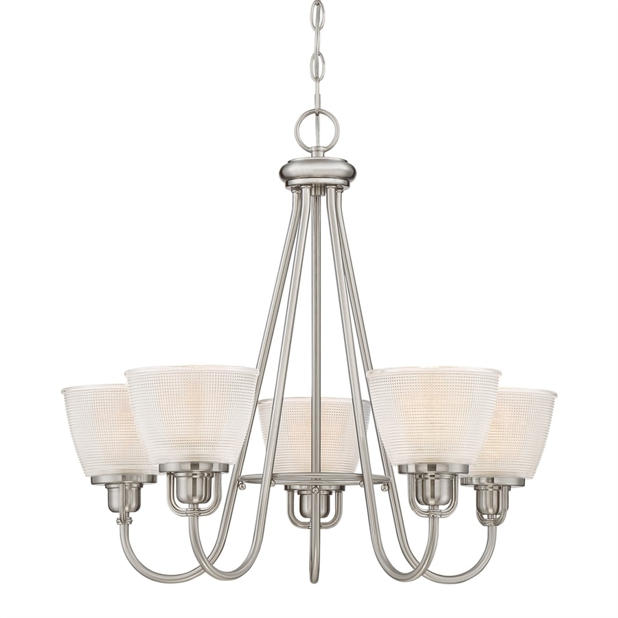 Quoizel Dublin 26-in 5-Light Brushed Nickel Hardwired Ribbed Glass Shaded Chandelier