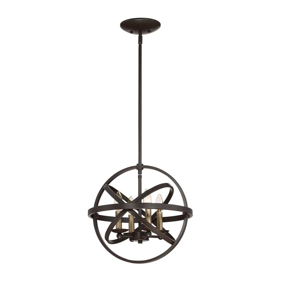 Quoizel Eons 15-in Western Bronze Wrought Iron Single Globe Pendant
